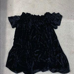 Velvet ruffle off the shoulder dress